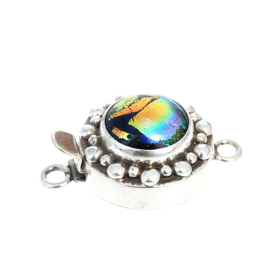 DICHRIOC GLASS Clasp Sterling Silver Metallic Rainbow 14mm