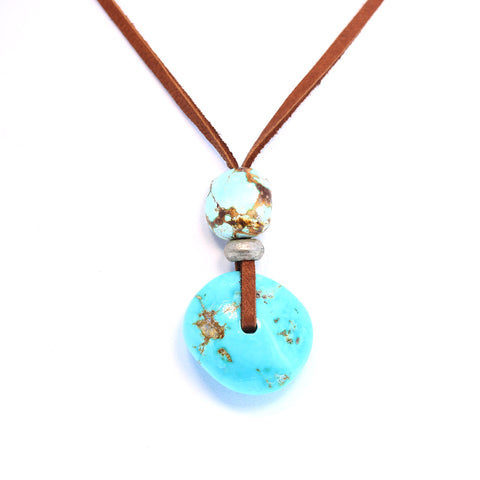 TURQUOISE 2 STONE NECKLACE Sterling Leather Nevada Turquoise