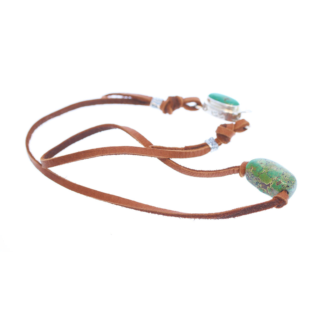 ANTIQUE TIBETAN TURQUOISE Bead Leather Necklace