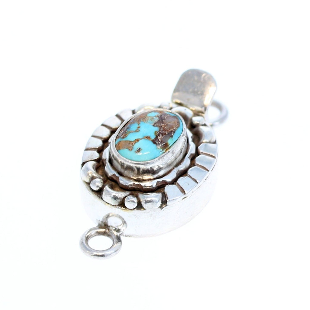 Armenian Turquoise Sterling Silver Clasp Oval Moon Design 10x8mm