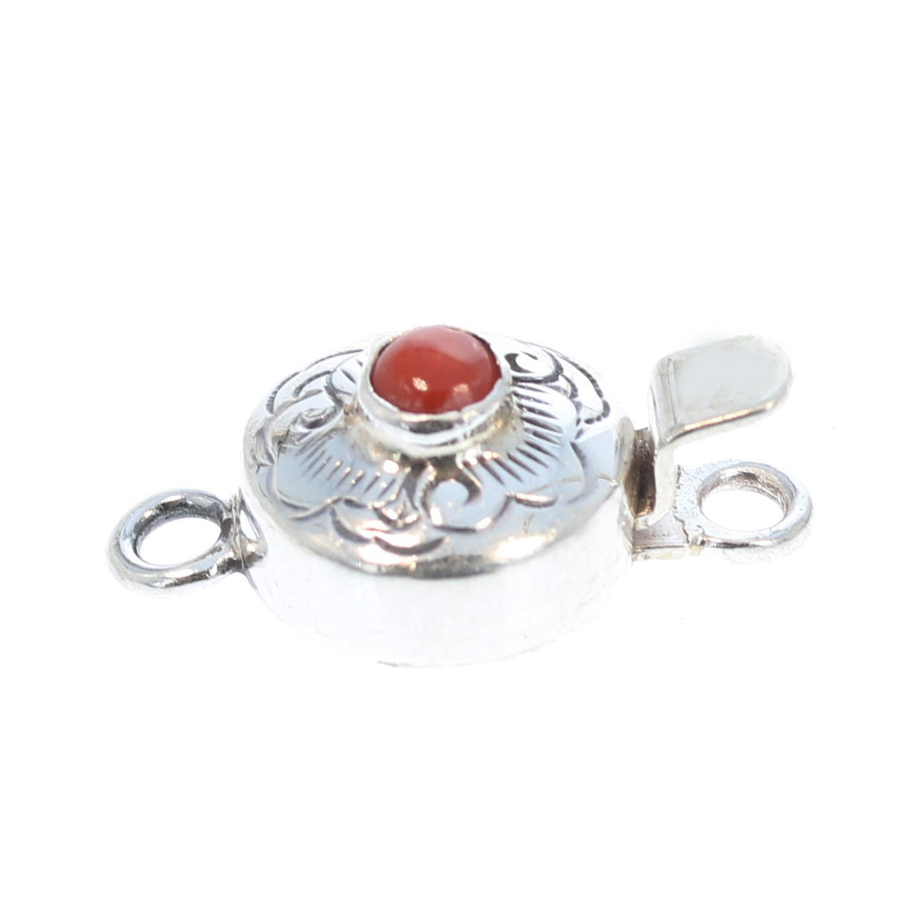 RED CORAL CLASP Round Sterling Cloud Design