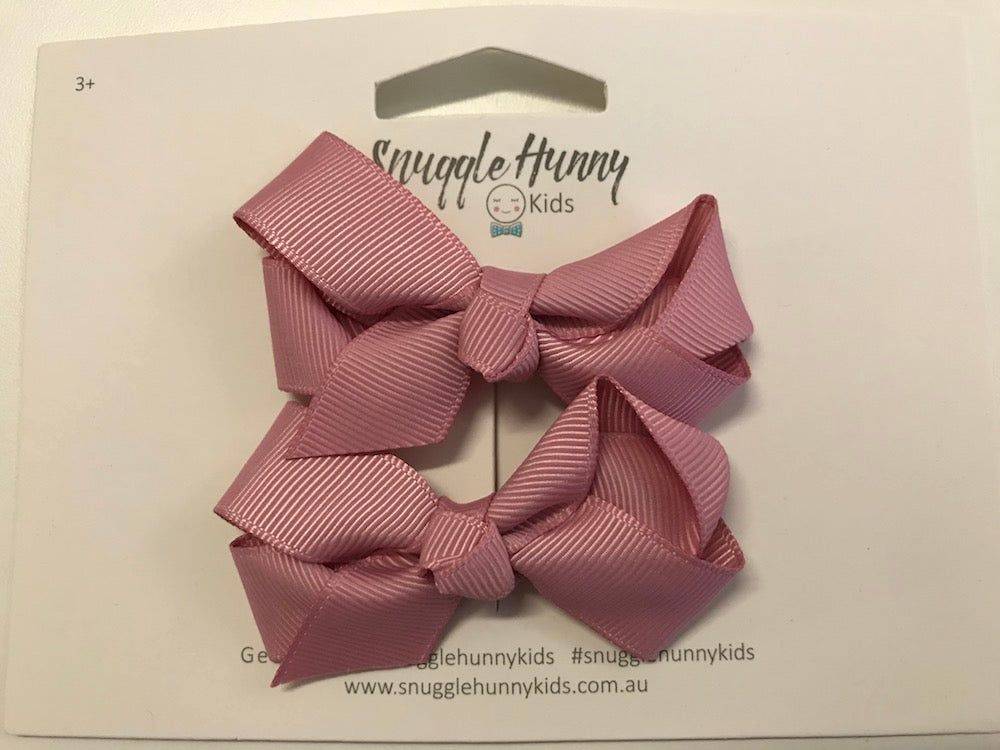 Snuggle Hunny Kids Small Clip Bows - Dusty Pink