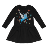 Rock Your Baby Rainbow Pegasus LS Drop Waist Dress