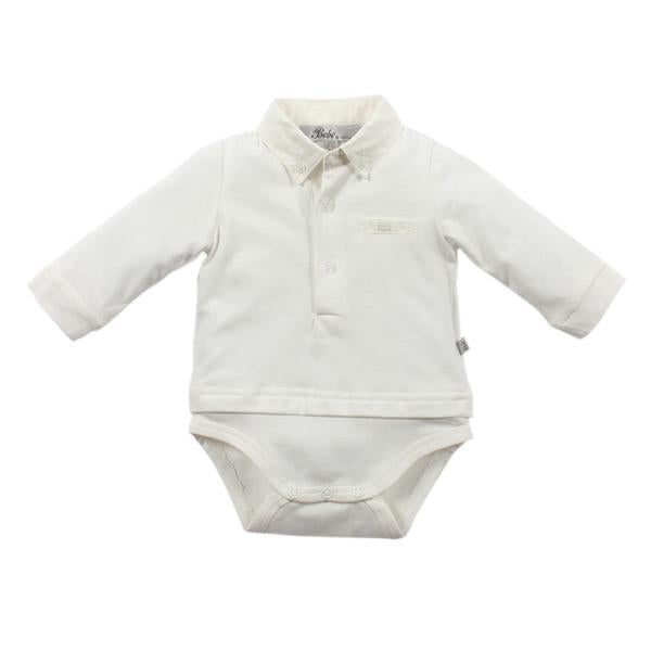 Bebe Archie Body Suit With Collar- Ivory