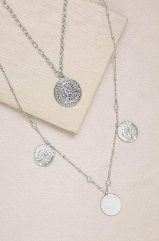 Elite Coin and Crystal Layered Necklace Set - A Horizon Dawn
