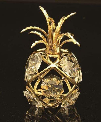 "Maroon Jason Gifts 2"" tall / Gold / Clear 24K gold/silver plated apple with Swarovski"
