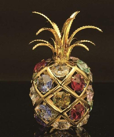 "Maroon Jason Gifts 4.5"" tall / Gold / Multicolor 24K gold/silver plated apple with Swarovski"