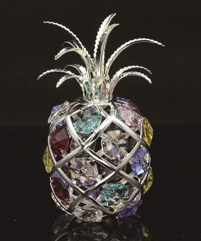 "Maroon Jason Gifts 4.5"" tall / Silver / Multicolor 24K gold/silver plated apple with Swarovski"