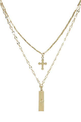Orange Charlie Necklaces 18k Gold Plated Cross Necklace Set