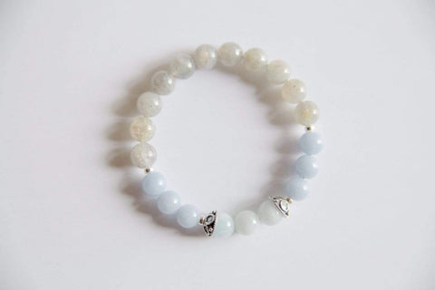 Purple Lily Zen Jewelry & Watches Aquamarine, Angelite & Labradorite Sterling Silver Bracelet