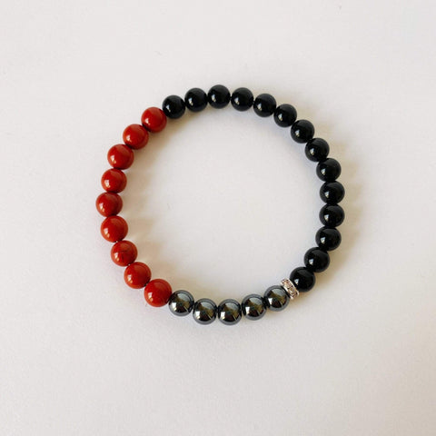 Purple Lily Zen Jewelry & Watches Black Onyx, Hematite and Red Jasper Bracelet
