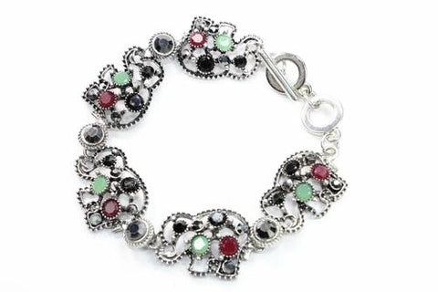 Silver Hestia Bracelets Black/Green Circle Of Elephants Bracelet