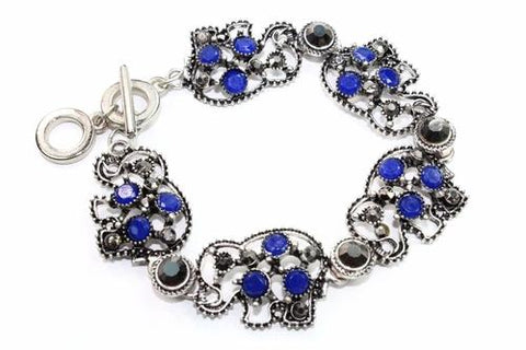 Silver Hestia Bracelets Blue Circle Of Elephants Bracelet