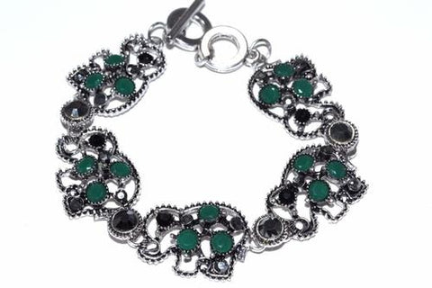 Silver Hestia Bracelets Green Circle Of Elephants Bracelet