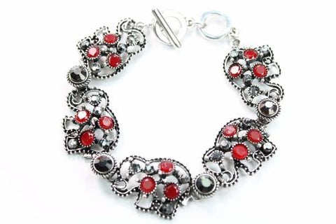 Silver Hestia Bracelets Red Circle Of Elephants Bracelet