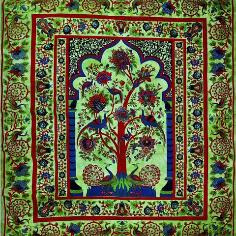 Silver Hestia Home Decor Green Tree of Life Peacock Tapestry