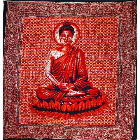 Silver Hestia Home Decor Red Buddha In Meditation Tapestry