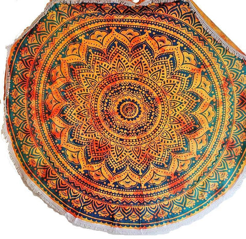Silver Hestia Jewelry & Watches Henna Burst Round Mandala Tapestry