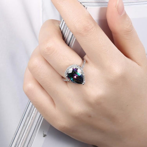 Silver Milo Jewelry & Watches 9 4.00 CTTW Genuine Rainbow Topaz Pear Cut Sterling