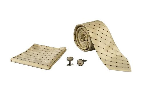 Silver Sand Brier Accessories Polka Dot Ivory/Brown Men's Silk Feel Necktie Cufflinks Pocket Square Handkerchief Set