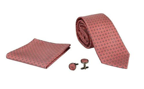 Silver Sand Brier Accessories Polka Dot Salmon Men's Silk Feel Necktie Cufflinks Pocket Square Handkerchief Set