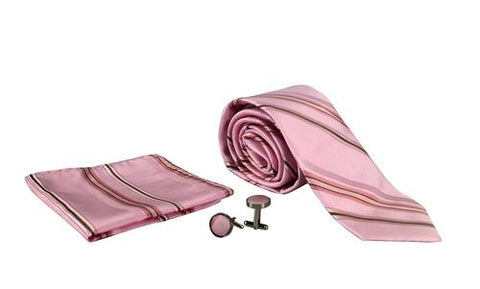 Silver Sand Brier Accessories Stripe Pink/Brown Men's Silk Feel Necktie Cufflinks Pocket Square Handkerchief Set