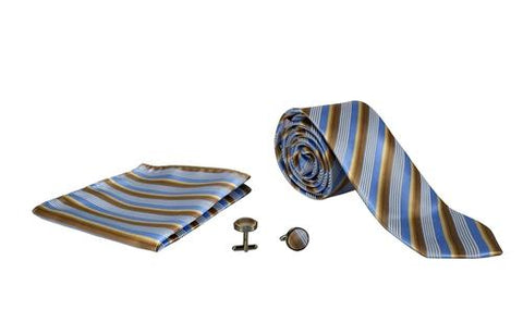Silver Sand Brier Accessories Stripe Tan/Blue Men's Silk Feel Necktie Cufflinks Pocket Square Handkerchief Set
