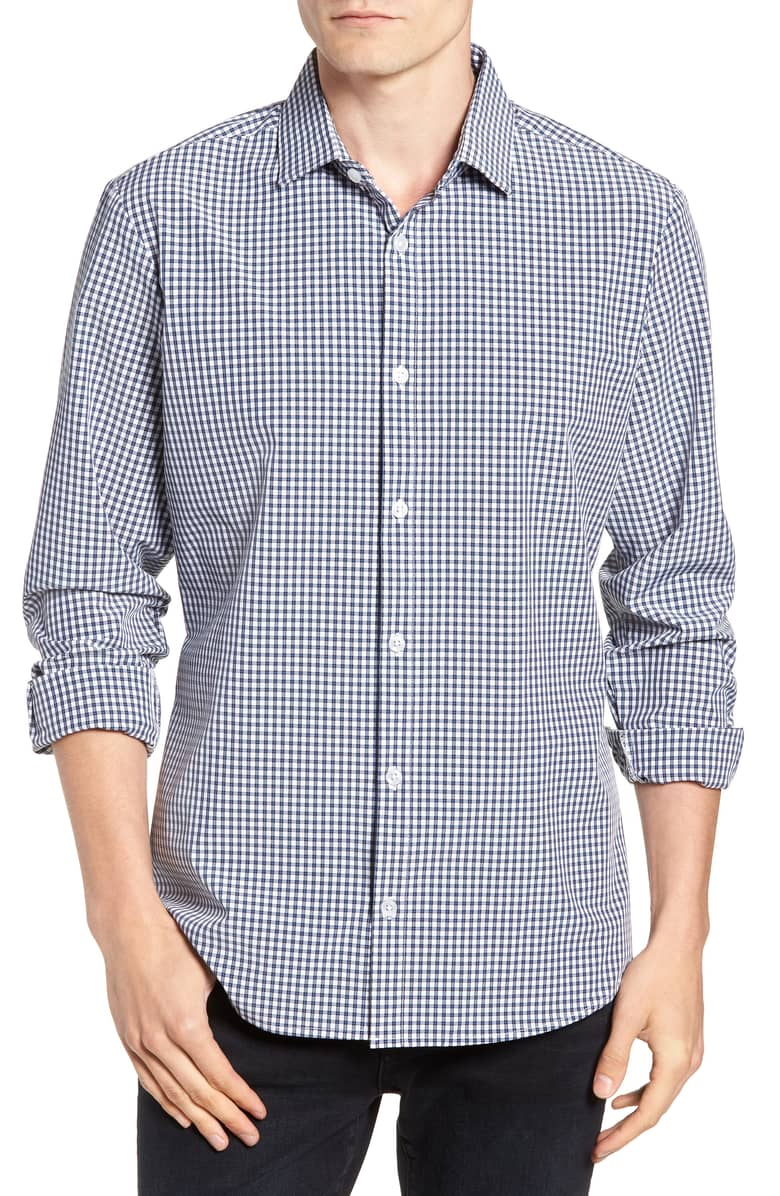 Mizzen+Main Bonham Black/Blue Multi Check Button Down Shirt L-7036