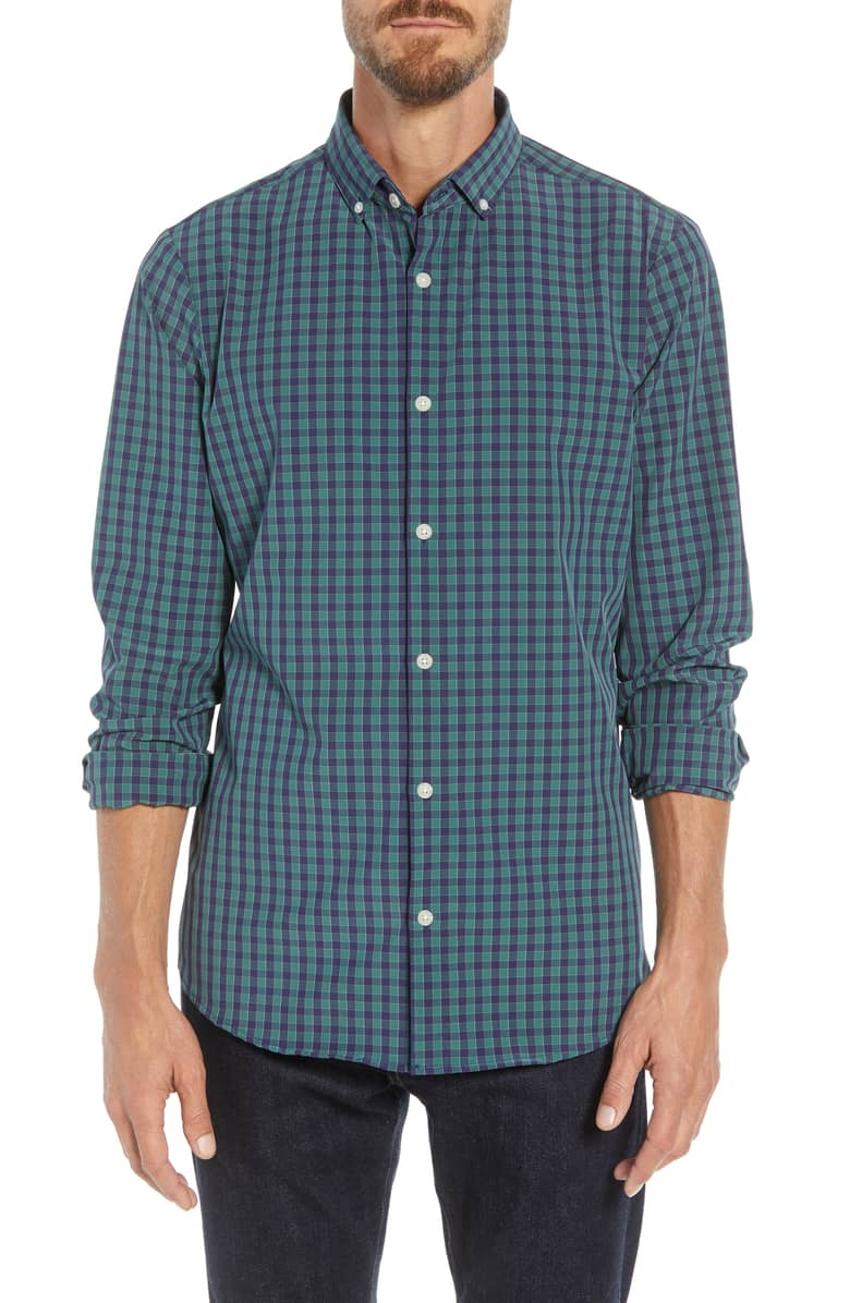 Mizzen+Main Thomson Navy/Green Ginham Button Down Shirt L-7034