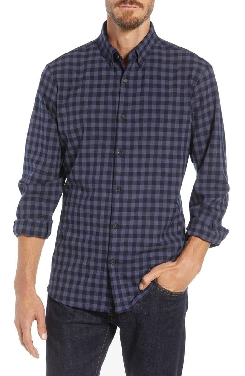 Mizzen+Main Palmetto Navy Check Flannel Button Down FL-2002