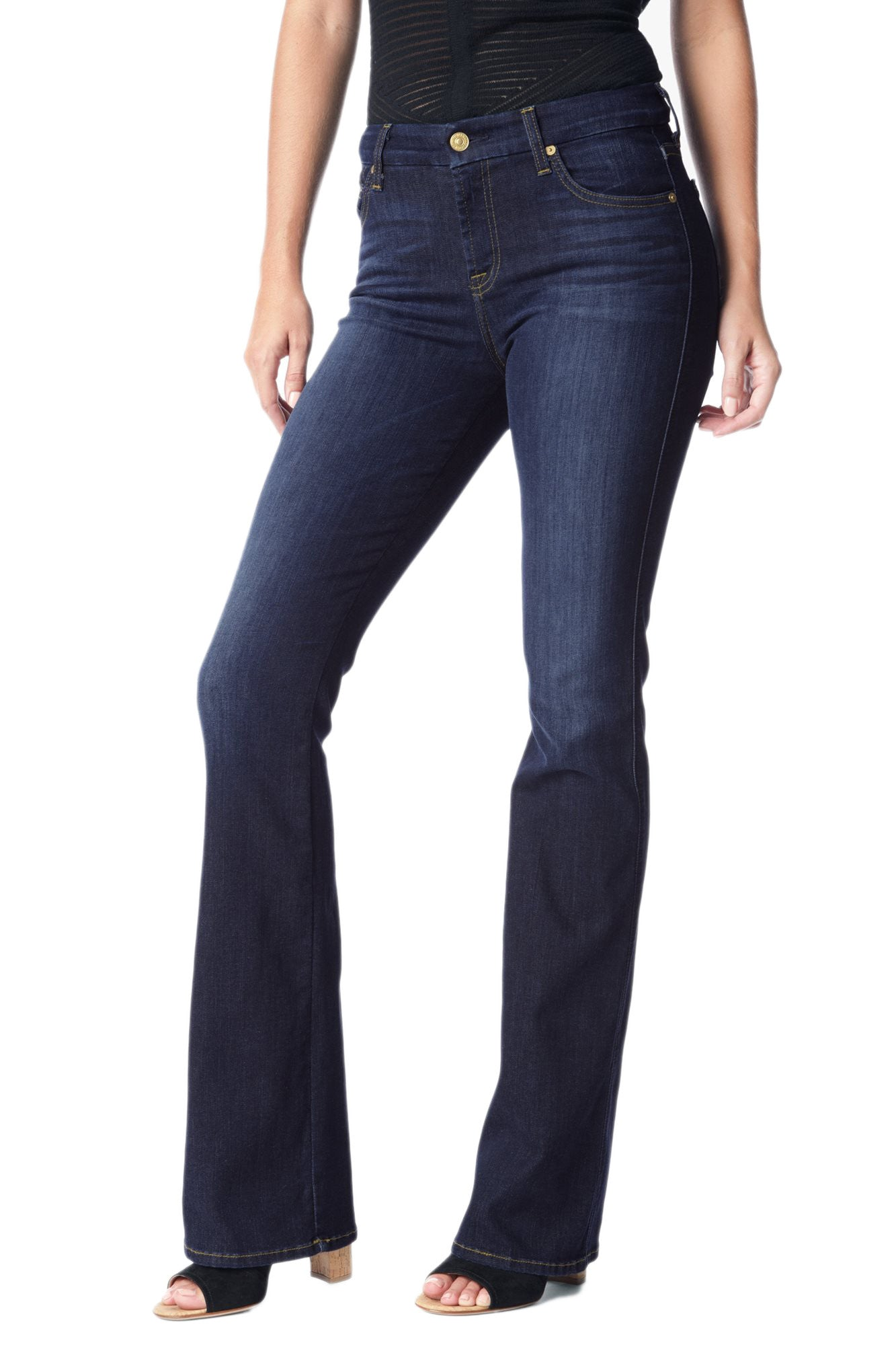 color brilliancy 100% original available 7 For All Mankind Slim Illusion Kimmie Bootcut Jean in Tried & True Blue  AU0156681A