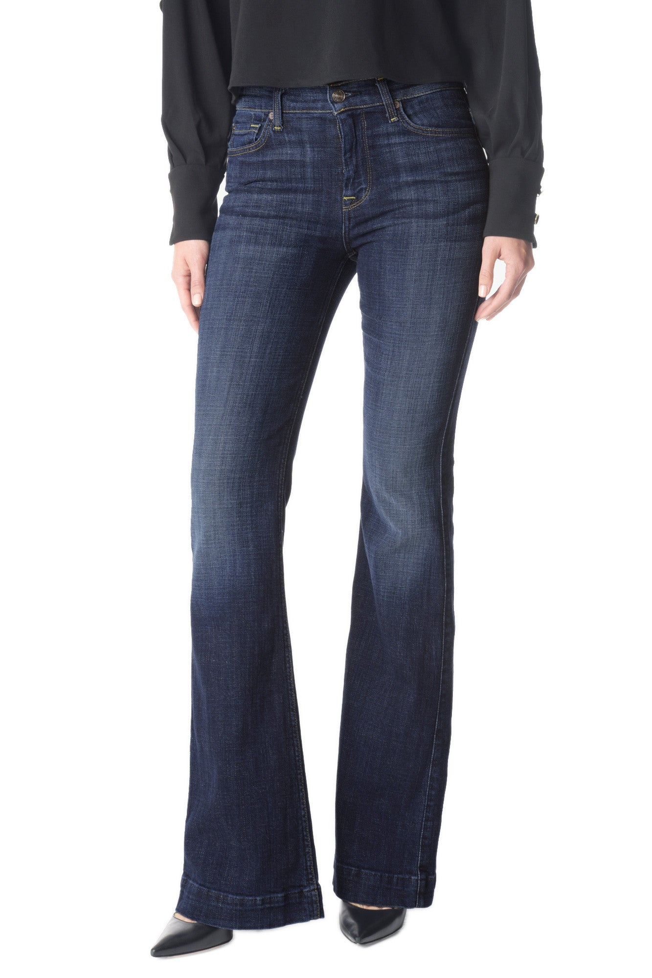 7 For All Mankind Ginger Flare Jeans in Royal Broken Twill FW6400369A