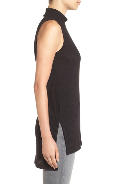 Splendid Sylvie Rib Mock Neck Tunic in Black ST10672