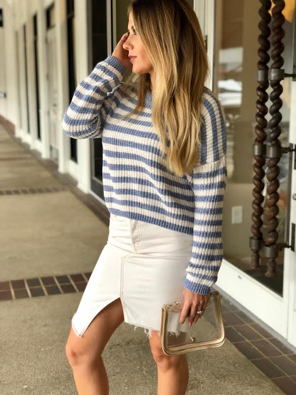 Sadie & Sage IONE STRIPE SWEATER Denim AA342685