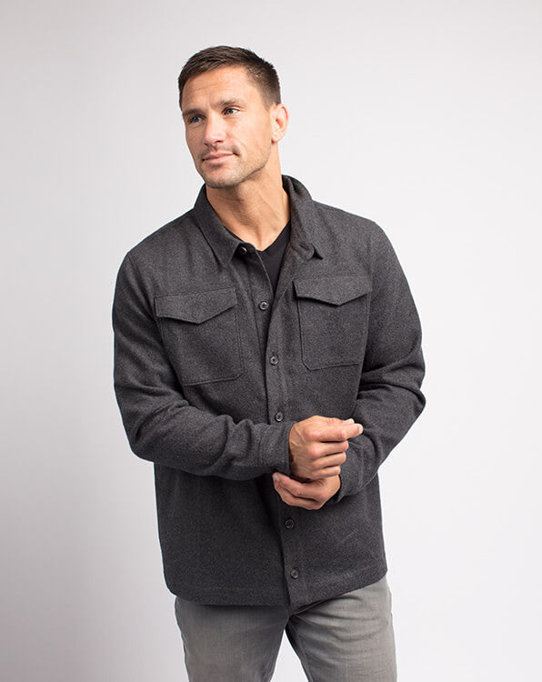 Travis Mathew Matchmaker Shirt Jacket Heather Charcoal 1MP183