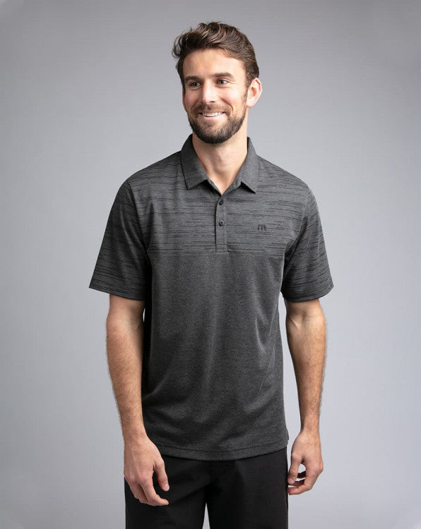 Travis Mathew Vinyl Polo Shirt Heather Black 1MR161