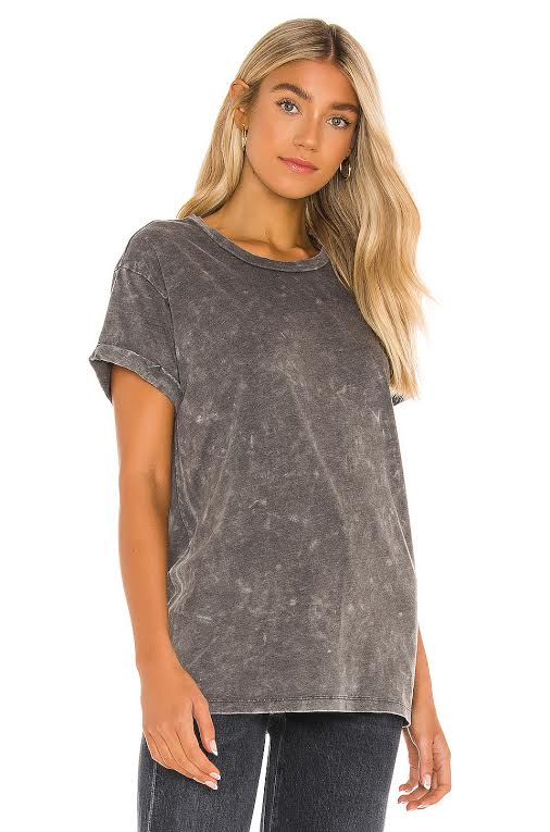 CHASER RECYCLED VINTAGE JERSE ROLLED SHORT SLEEVE CREW NECK TEE, MINERAL WASH CW8478-MINWA