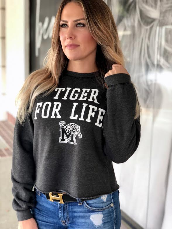 Retro Brand Tiger For Life Cropped Sweater RBH2522 MEMR1102A