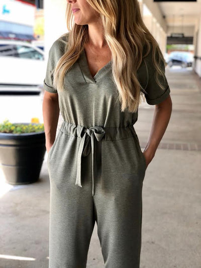 V-Neck Tapered Leg Jumpsuit P6699-CI