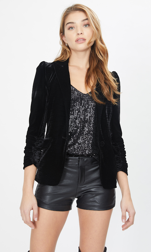 Generation Love Stretch Velvet Blazer Puffy Slv F20EMMAB