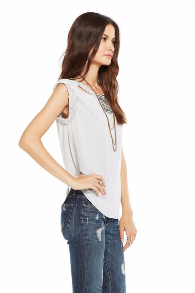 Chaser Brand Deconstructed Rolled Shirttail Muscle Tee CW6456