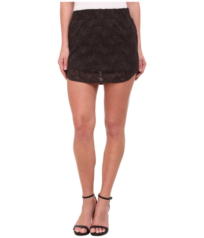 Chaser Stretch Lace Mini Skirt CW6261-Vintage Black