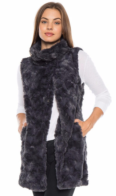 Dylan Classic Silky Fur Long Snap Vest 61W55SF5