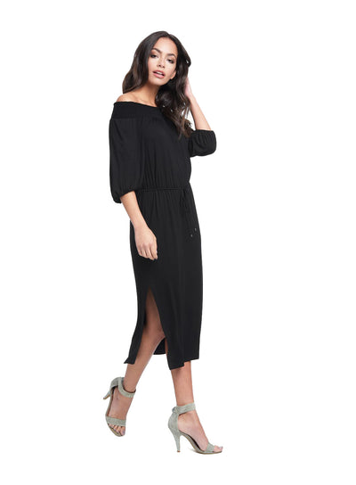 Ella Moss Bella Side Slit Midi Dress in Black ED18146