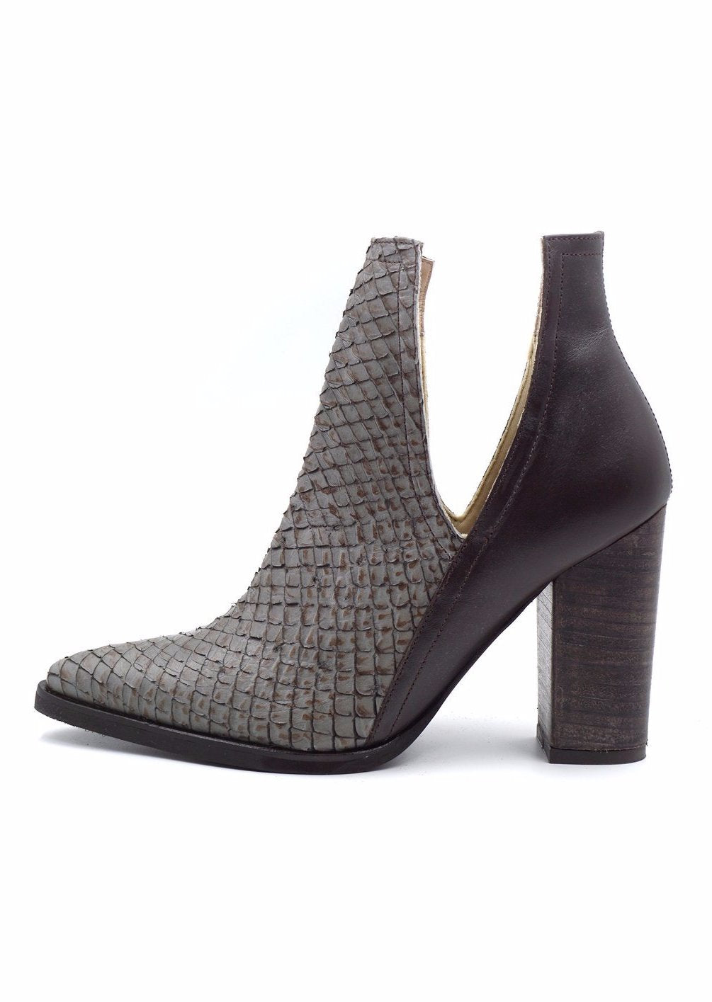 Kaanas Merida Open Ankle Stacked Heel Bootie in Grey 741W