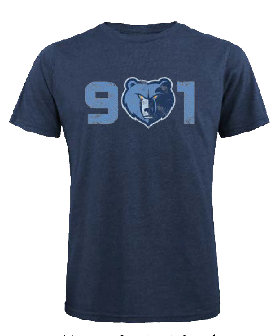 Majestic Threads Memphis Grizzlies 901 Triblend Crew Tee T0510G826