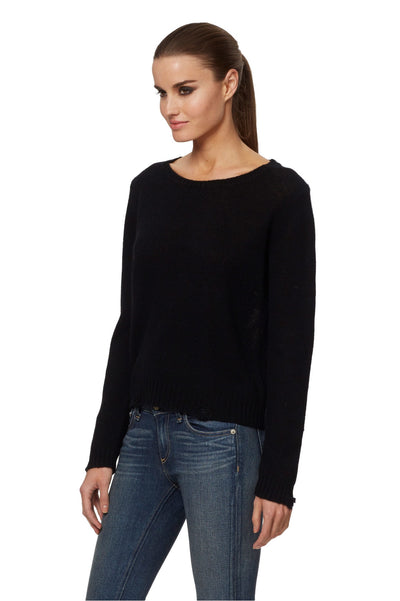 360 Cashmere Raj Skull Cashmere Sweater  in Black 90350