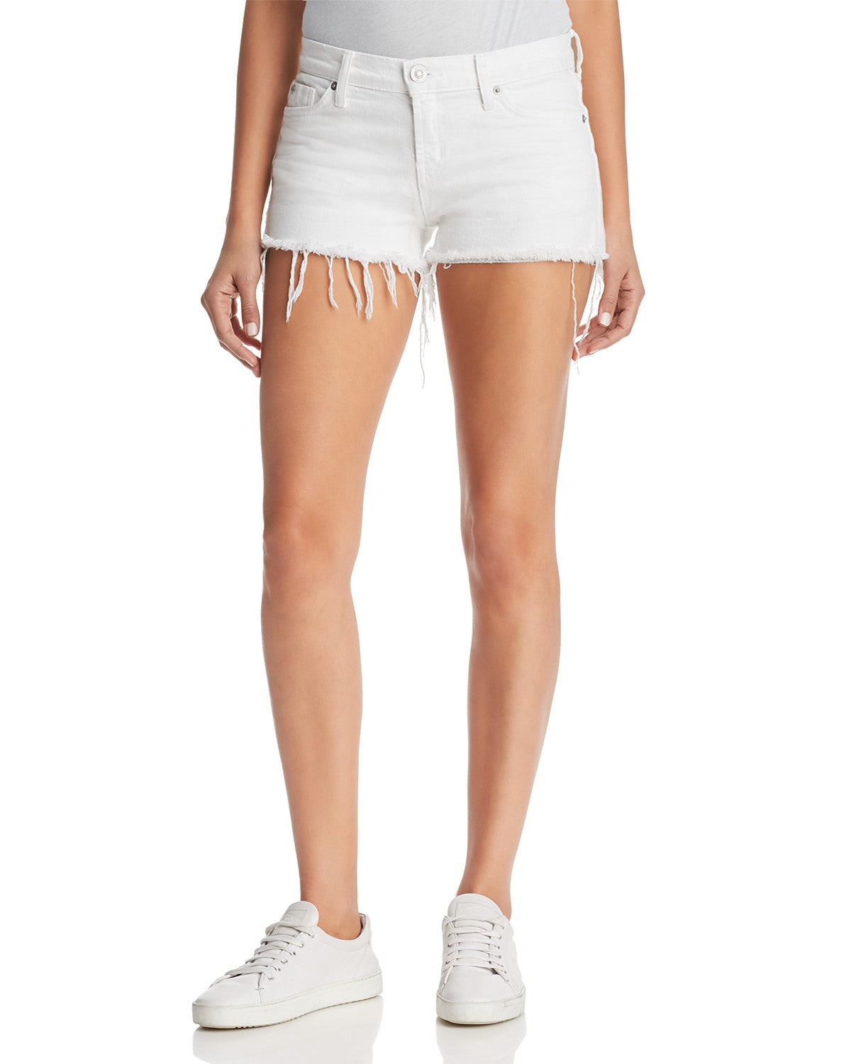 Hudson Women's Kenzie Cut Off Short in White WR699DWM