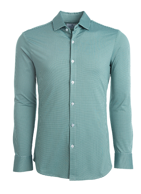 Mizzen + Main Adams Dark Green Gingham Button Down Shirt S-6002