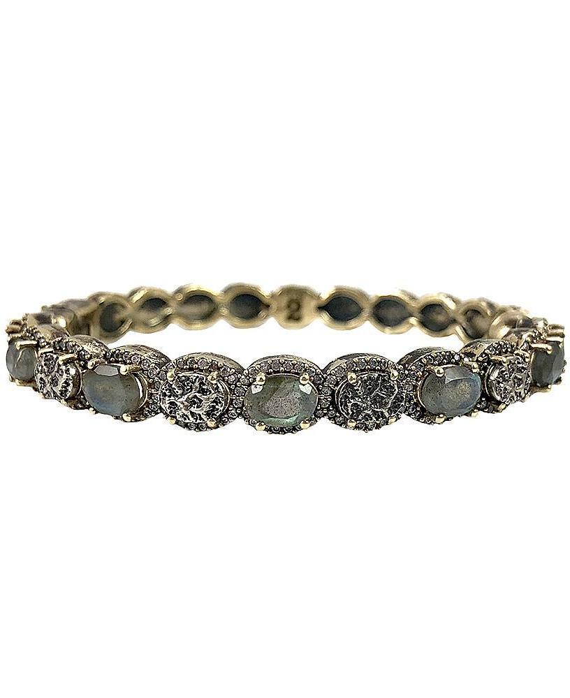 Tat2 Vintage Gold Hati Labradorite & Coin Bangle B308-LAB-VG/VS-CLR